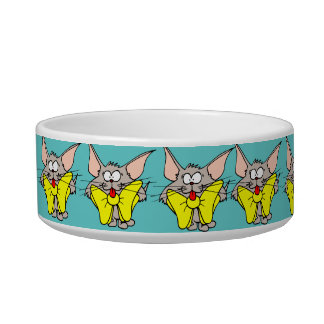 Cat with Big Yellow Bow Cat Dish Bowl