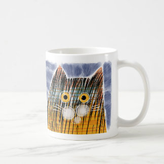 Cat with big yellow eyes coffee mug