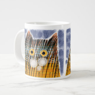 Cat with big yellow eyes 20 oz large ceramic coffee mug