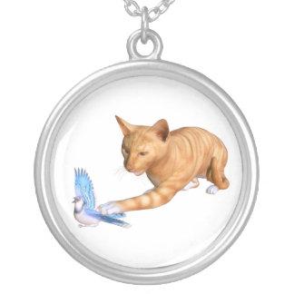 Cat with bird round pendant necklace