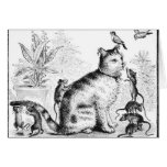 Cat with Birds and Rats Greeting Cards