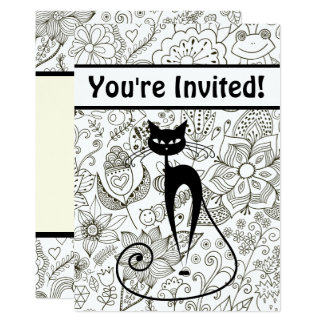 Cat with Black and White Garden Birthday Invite