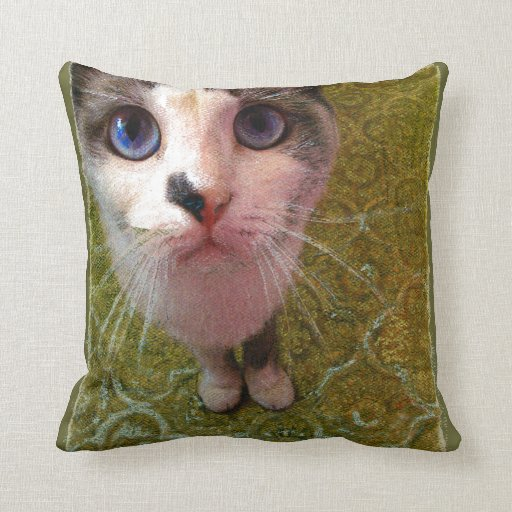 Cat with blue eyes by Alexandra Cook Pillow