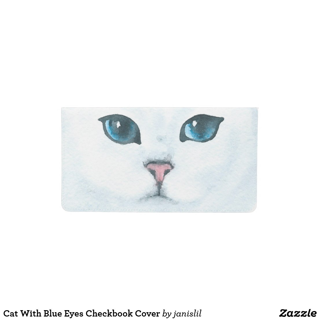 Cat With Blue Eyes Checkbook Cover