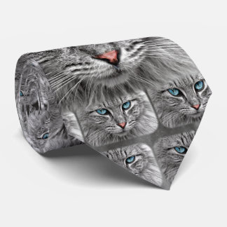 Cat with Blue Eyes Pink Nose and Gray Fur Neck Tie
