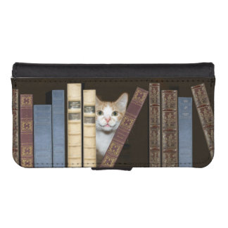 Cat with books phone wallet case