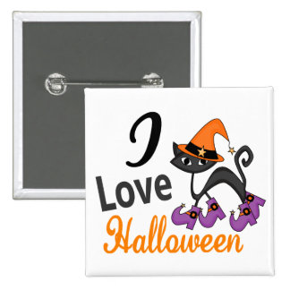 Cat With Boots I Love Halloween Button