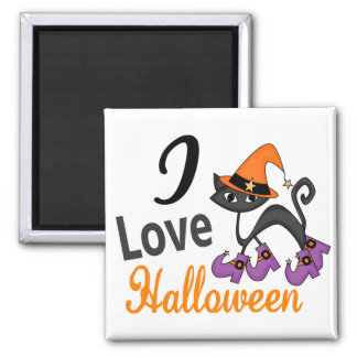 Cat With Boots I Love Halloween Magnet