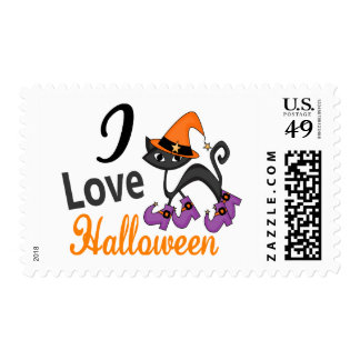 Cat With Boots I Love Halloween Postage Stamp