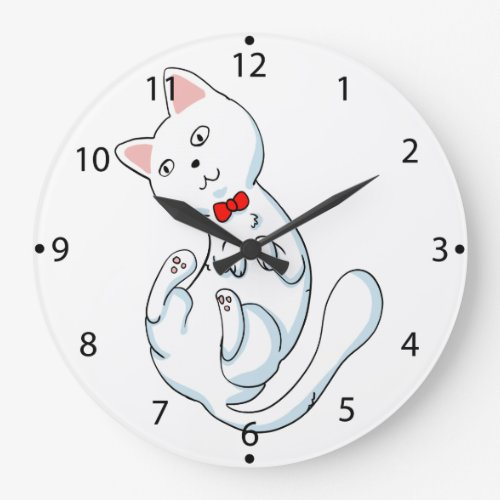 Cat with bow tie - funny cat - cat cartoon large clock