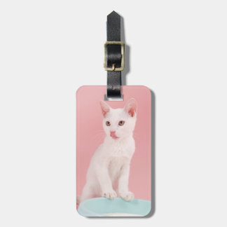 Cat with bowl of milk luggage tag