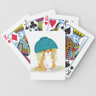 Cat with bowl of spagetti over the head bicycle playing cards