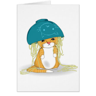 Cat with bowl of spagetti over the head card