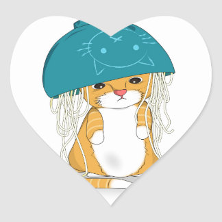 Cat with bowl of spagetti over the head heart sticker