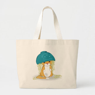 Cat with bowl of spagetti over the head large tote bag