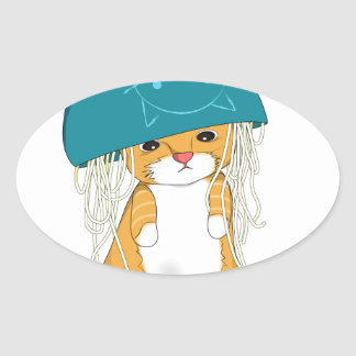 Cat with bowl of spagetti over the head oval sticker