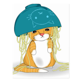 Cat with bowl of spagetti over the head postcard
