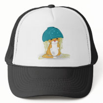 Cat with bowl of spagetti over the head trucker hat
