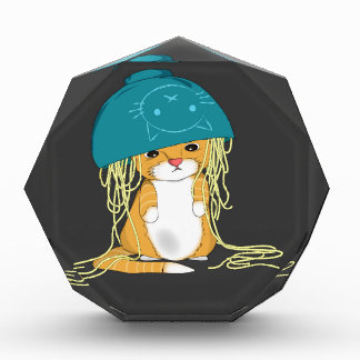 cat with bowl over the head full of spaghetti acrylic award