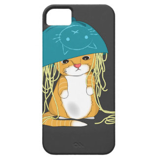 cat with bowl over the head full of spaghetti iPhone SE/5/5s case