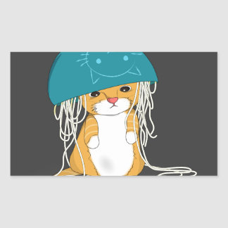 cat with bowl over the head full of spaghetti rectangular sticker