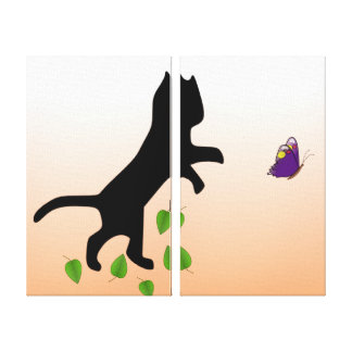 Cat With Butterfly Canvas Print