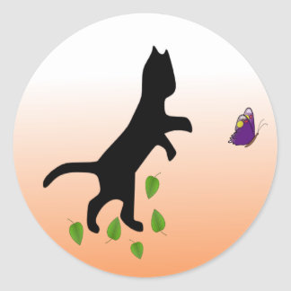 Cat With Butterfly Classic Round Sticker