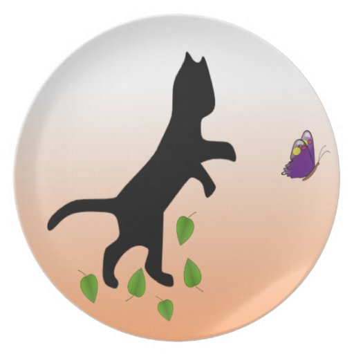 Cat With Butterfly Dinner Plate