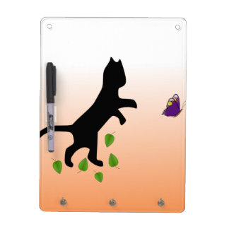 Cat With Butterfly Dry Erase Board