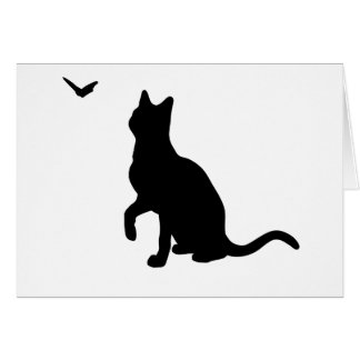 Cat with Butterfly Greeting Card- Blank Card