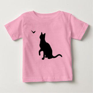 Cat with Butterfly Infant Shirt- Pink Baby T-Shirt