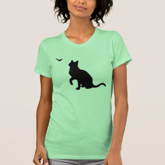 Cat with Butterfly Ladies Shirt- Lime