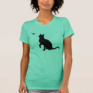 Cat with Butterfly Ladies Shirt- Lime T-Shirt
