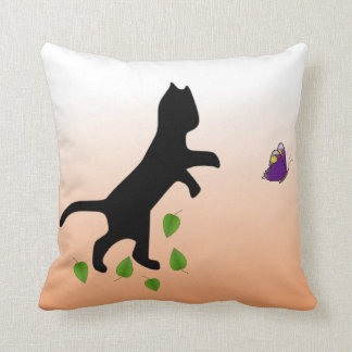 Cat With Butterfly Pillow