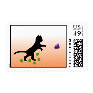 Cat With Butterfly Postage Stamp