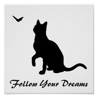 Cat with Butterfly Poster