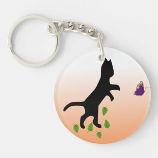 Cat With Butterfly Single-Sided Round Acrylic Keychain