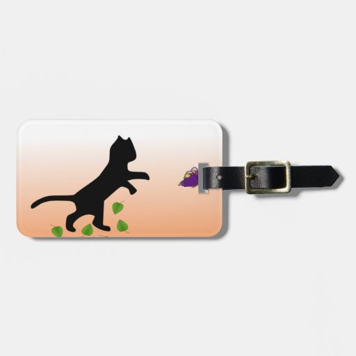 Cat With Butterfly Travel Bag Tags