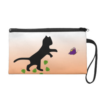 Cat With Butterfly Wristlet Purse