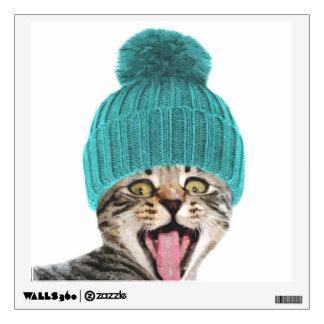 Cat with cap cute animal portrait wall sticker