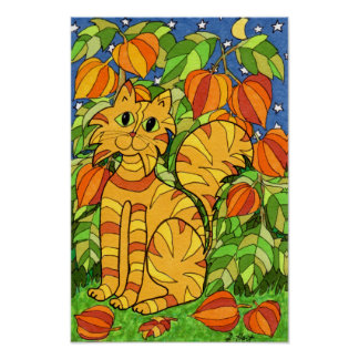Cat with Chinese Lantern Plant Poster