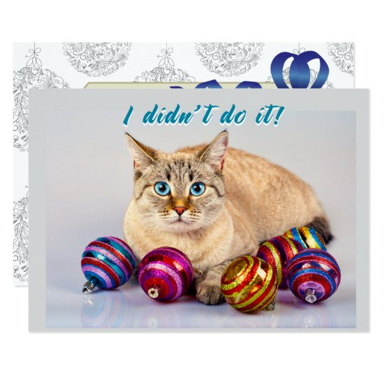 Cat with Christmas Balls Two Sided Christmas Card