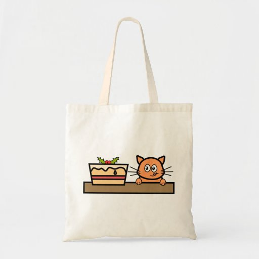 Cat with Christmas Cake. Budget Tote Bag