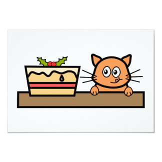 Cat with Christmas Cake. 3.5x5 Paper Invitation Card
