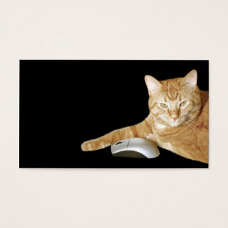 Cat with computer mouse business card