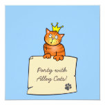 Cat with Crown - Birthday Party Invitation 13 Cm X 13 Cm Square Invitation Card