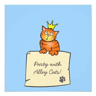Cat with Crown - Birthday Party Invitation