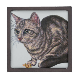 Cat with Daffodils on Magnetic Wooden Gift Box