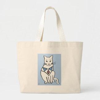 Cat with Diamond Collar Jumbo Tote Bag