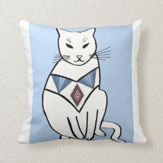 Cat with Diamond Collar Throw Pillows
